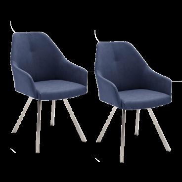 2x MCA furniture Madita Stuhl Ausführung B mit 4 Fuß Gestell und Armlehnen, Kunstlederbezug Argentina, Farbe wählbar