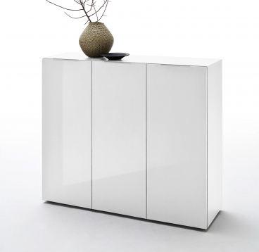 MCA furniture Vicenza Kommode mit 3 Türen in Hochglanz weiß lackiert oder  Anthrazit matt lackiert wählbar