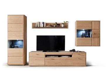 ... Tarragona Wohnkombination MCA Furniture Wohnwand TAR11W02 Kombination 2  Ausführung Eiche Bianco Teilmassiv Metallgriffe Für Wohnzimmer