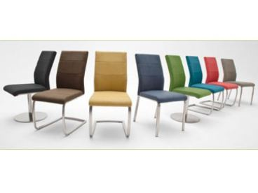 MCA Stuhlsystem Flores 2er Set Stuhl Ausführung B mit Kunstleder Argentina und Gestell Edelstahl gebürstet, Bezugsfarbe und Gestellform wählbar