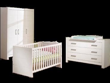 Paidi Fiona Babyzimmer bestehend aus Kinderbett Kleiderschrank 3T Kommode  breit mit Wickelaufsatz breit in Kreideweiß