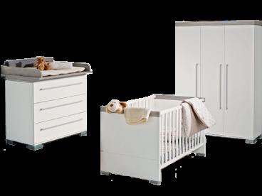 Paidi Kira Babyzimmer bestehend aus Kinderbett 70x140 cm mit Airwell  Comfort Lattenrost Kommode schmal mit Wickelaufsatz schmal und  Kleiderschrank 3T ...