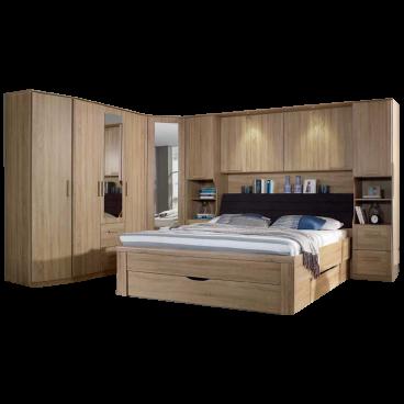 Rauch Packs Lindau Schlafzimmer inklusive Bettanlage Liegefläche ca.  180x200 cm Bettüberbau 180 und Drehtüren-Eckschrankkombination