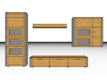 Gwinner Solid Wandkombination Wohnwand Sl 31 Vitrine Unterteil Hangeschrank Und Wandboard Auch Spiegelverkehrt Lieferbar Ohne Beleuchtung Front
