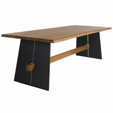 Bert Plantagie Tisch Amar Tischplatte Massiv Mit Stahlwangen Lackiert