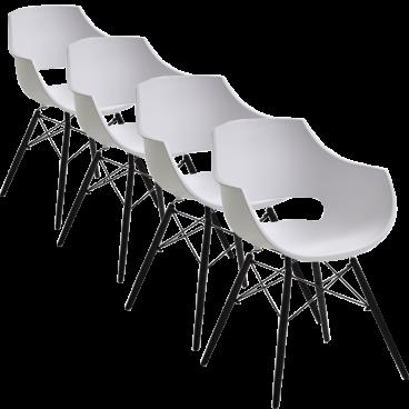 4x Stuhl Bodahl Funktionaler Stuhl Jazz Mit Kunststoffschale In Weiss Und Schwarz Lackierten Holzbeinen Ideal Fur Ihr Esszimmer