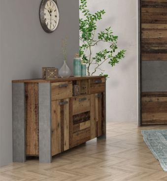 Forte Clif Binou Schlafzimmer Sideboard Holzoptik Old-Wood Betonoptik