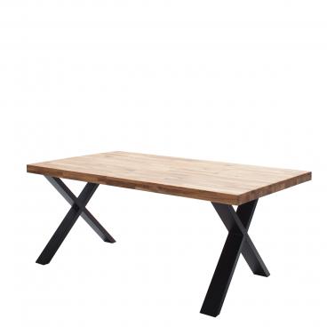 Elfo Möbel Tim Esstisch mit keilgezinkter Holzplatte in wählbarer Holzart mit gerader Kante und X Metallgestell in Schwarz Tisch in verschiedenen