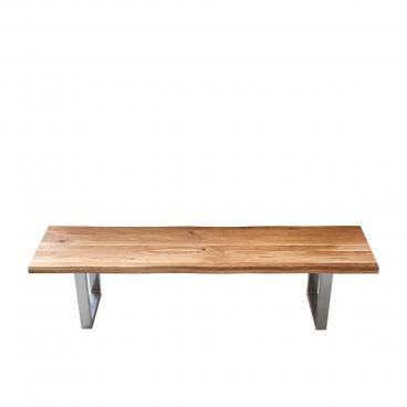 Elfo Möbel Tim Sitzbank mit Sitzfläche aus Holz in wählbarer Holzart und durchgehenden Lamellen mit Baumkante und Metallgestell chromfarbig Bank in