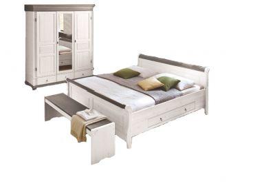 Kostenlose Lieferung Ins Deutsche Festland Euro Diffusion Oslo Schlafzimmer  2 Teilig Bett Mit 2 Schubkästen Und Drehtürenschrank 3 Türig