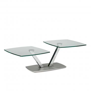 Eve Collection Couchtisch Sarnico Deluxe Mit Klarglasplatten Wohnzimemrtisch Mit Saulengestell In Hochglanz Verchromt Und Drehbaren Glasplatten Und
