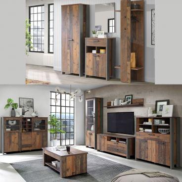 Forte Clif in Old Wood Vintage - Garderobe und Wohnzimmer