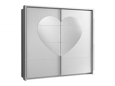 Forte Kleiderschrank In Weiss Hochglanz Mit Spiegel In Herzform