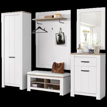 Forte 5 Teiliges Garderoben Set In Weiss Eiche Bianco Im Landhausstil
