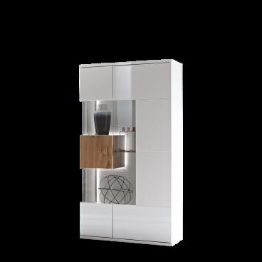 Ideal-Möbel moderne Standvitrine in Weiß Hochglanz / Artisan Eiche NB