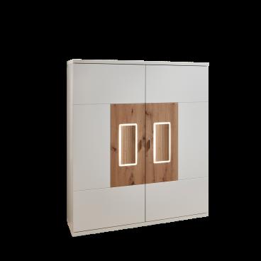 Ideal-Möbel Falan Highboard Type 52 für Ihr Wohnzimmer oder Esszimmer  moderne Anrichte mit zwei Türen mit Korpus in Weiß mit Absetzungen in Eiche  ...