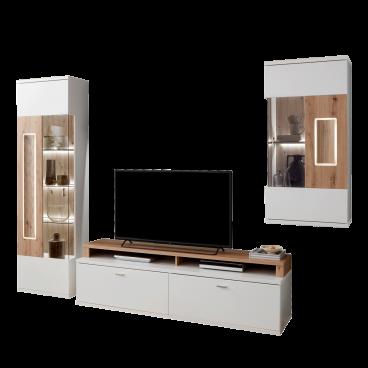 Ideal Mobel Moderne Wohnwand In Weiss Artisan Eiche Mit Beleuchtung