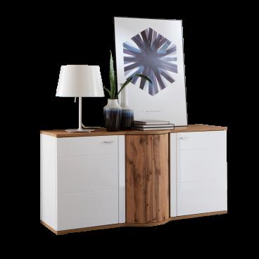 Ideal Möbel Magic Sideboard 51 mit Drehkarussel und zwei Türen Korpus Weiß Front Weiß Hochglanz Absetzung Wotan Eiche Nachbildung