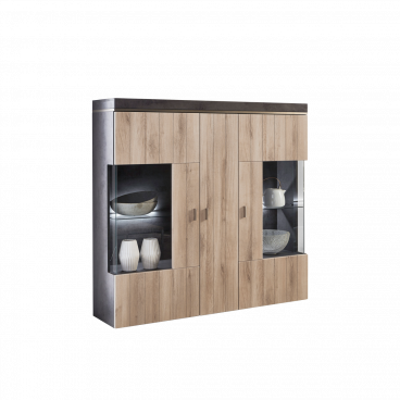 Relativ Ideal-Möbel modernes Highboard in Kronberg Eiche NB / Oxid Optik JF15