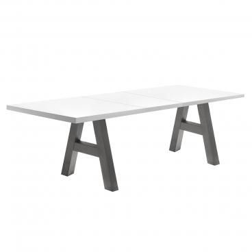 Mäusbacher The Big System Esstisch mit Auszugsfunktion mit rechteckiger Tischplatte in wählbarer Größe und A Gestell Tisch mit wählbarer