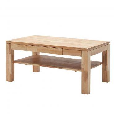MCA Furniture Couchtisch Lukas 58741KB5 aus Kernbuche massiv keilverzinkt  Ablage massiv geölt gewachst Stollen massiv für Ihr Wohnzimmer