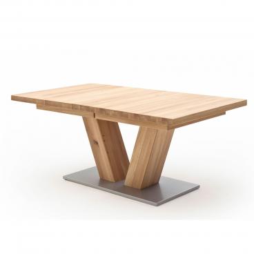 MCA Furniture Esstisch Managua A Ausziehtisch mit V Fuß und rechteckige Tischplatte aus Massivholz Fußplatte Silber