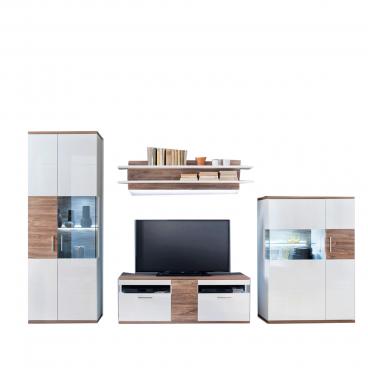 Mca Furniture Wohnwand Luzern In Hochglanz Weiß Mit Absetzung Sterling