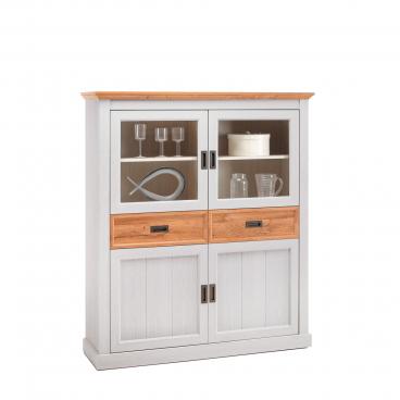 MCA furniture Highboard im Dekor Weiß / Wildeiche im Landhausstil