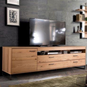 mca furniture lowboard asteiche bianco mit massiven fronten anthrazit