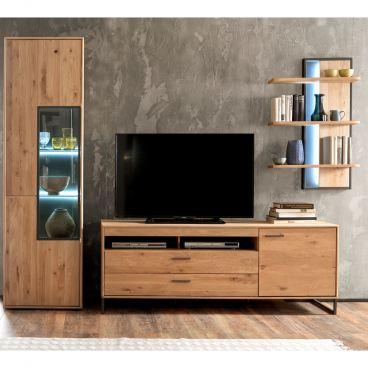 Mca Furniture Portland Wohnkombination 1 Fur Ihr Wohnzimmer 3 Teilige Wohnwand Im Industrial Look Mit Vitrine Lowboard Und Wandregal Kombination In