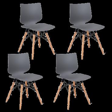 Niehoff Stuhl Tula TA31 Sitzschale aus Kunststoff Farbe wählbar Stativgestell aus Holz und Metall Stühle im 4er Set