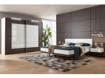 Nolte Möbel Novara Schlafzimmer bestehend aus Schwebetürenschrank 2-türig  Doppelbett mit Polster-Kopfteil Kunstleder Weiß Liegefläche ca. 180 x 200  cm ...
