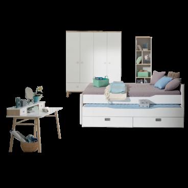 Jugendzimmer Paidi Ylvie 3- teilig in weiß Birke Nachbildung erweiterbar