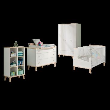 Babyzimmer Paidi Ylvie 4- teilig in weiß Birke Nachbildung erweiterbar