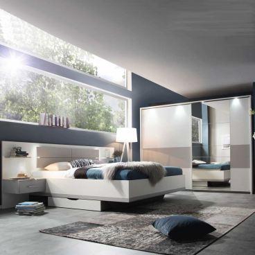 Rauch Packs Boston-Extra Schlafzimmer 2- teilig bestehend aus  Schwebetürenschrank und Bettanlage inklsuive nachttischen und Beleuchtung  Farbausführung ...