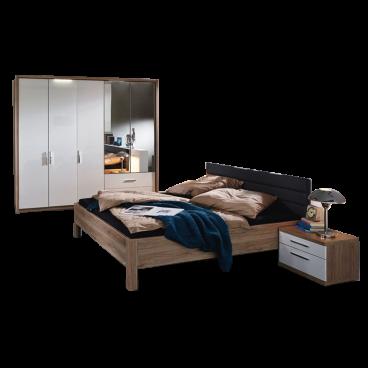 Rauch Steffen / Dialog Nice4Home Schlafzimmer 4-teilige bestehend aus  Drehtürenschrank Bett mit Polsterkopfteil in Kunstleder Liegefläche ca. 140  x ...