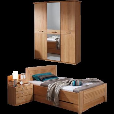 Rauch Steffen Valerie Schlafzimmer-Set bestehend aus Bett mit  Sockelschubkästen einer Nachtkommode mit beleuchtetem Aufsatz und einem  3-türigen ...