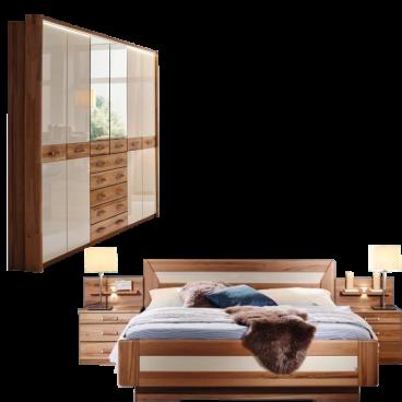 Rauch Steffen Valerie Schlafzimmer bestehend aus Drehtürenschrank mit  Passepartout Bett und 2 Nachtkommoden mit beleuchteten Aufsätzen Korpus ...