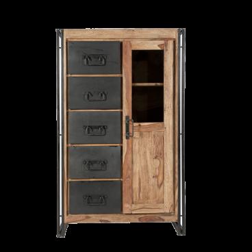 Sit Möbel Panama Hochschrank Natur Sheesham Holz Gebeizt Und Geölt Mit Altmetall Rahmen