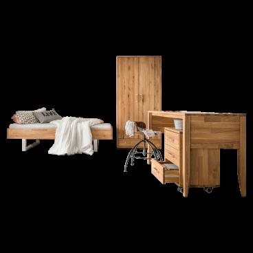 Skalik Meble Mido Jugendzimmer Bett Schrank Eiche Massivholz Natur
