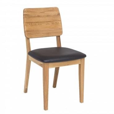 Stuhl Norman 3 Esszimmerstuhl Holzstuhl Leder schwarz Eiche natur massiv geölt