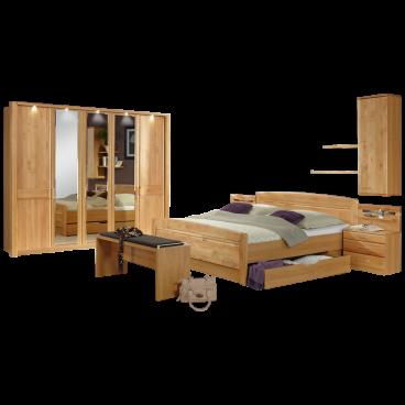 Wiemann Lausanne Schlafzimmer Doppelbett mit Bettkasten Drehtürenschrank  Nachtschränke Ankleidebank Hängeschrank und Wandboards in Erle teilmassiv  ...