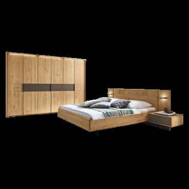 Wöstmann WSM 1600 Schlafzimmer 2-teilig in der Ausführung Europäische  Wildeiche Massivholz mit Bett Liegefläche wählbar und 6-türigem  Drehtürenschrank ...