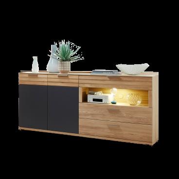 Wohn Concept Sideboard In Wildeiche Bianco Teilmassiv Mit Beleuchtung