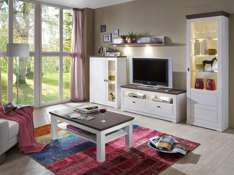 IDEAL-Möbel Wohnwand 4 teilig Ferra Kiefer massiv weiß lackiert