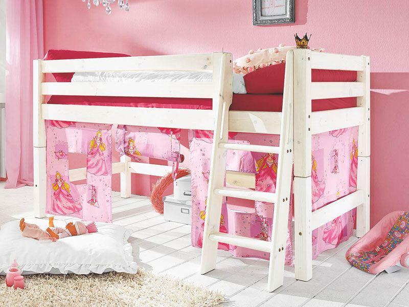 infantil infanskids halbhohes bett teilbar mit vorhang spielh hle. Black Bedroom Furniture Sets. Home Design Ideas