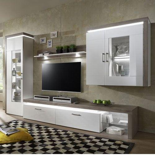 Kostenlose Lieferung Ins Deutsche Festland IDEAL Möbel Wohnwand Bruno  Kombination 17 Anbauwand 5 Teilig Korpus Weiß Melamin Front Weiß