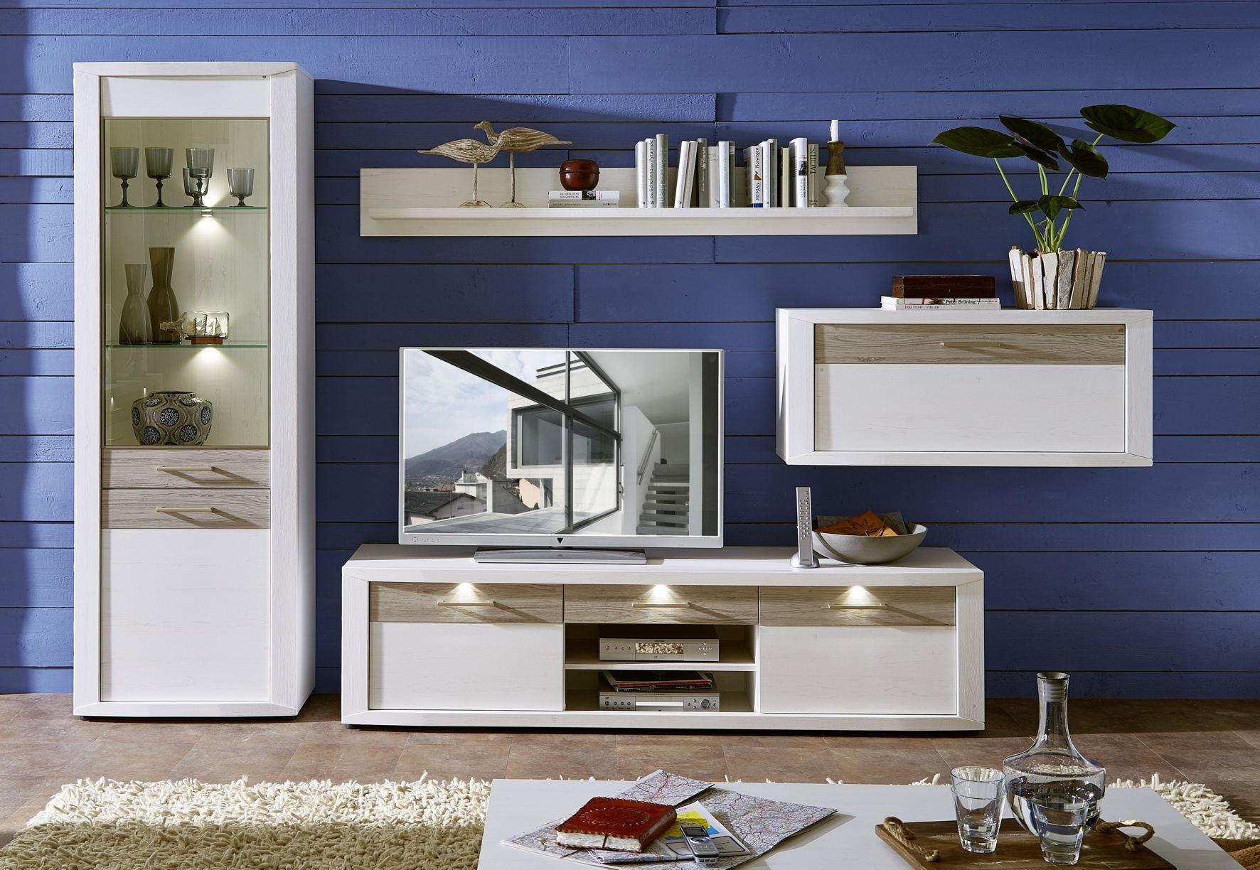 wohn concept wohnl sung pinie hell nachbildung inkl led beleuchtung. Black Bedroom Furniture Sets. Home Design Ideas