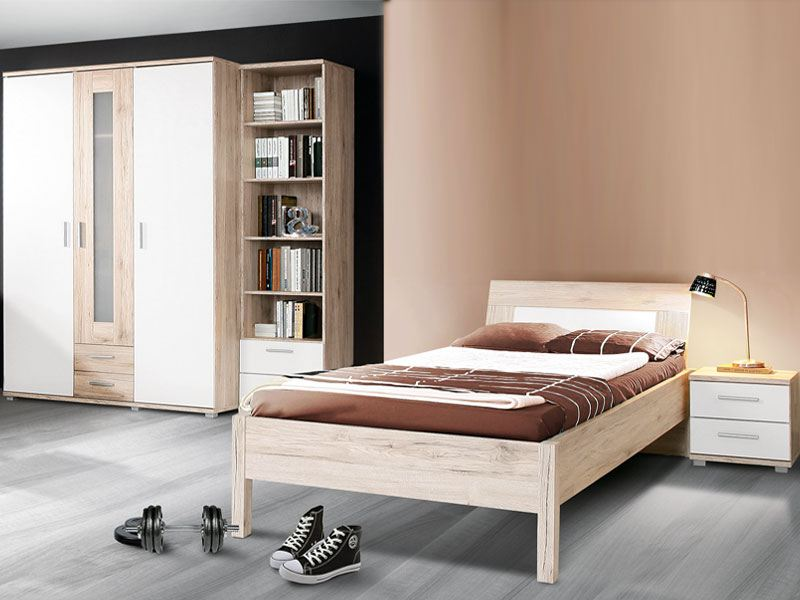 modernes jugendzimmer von forte 4 teilig mit viel stauraum. Black Bedroom Furniture Sets. Home Design Ideas