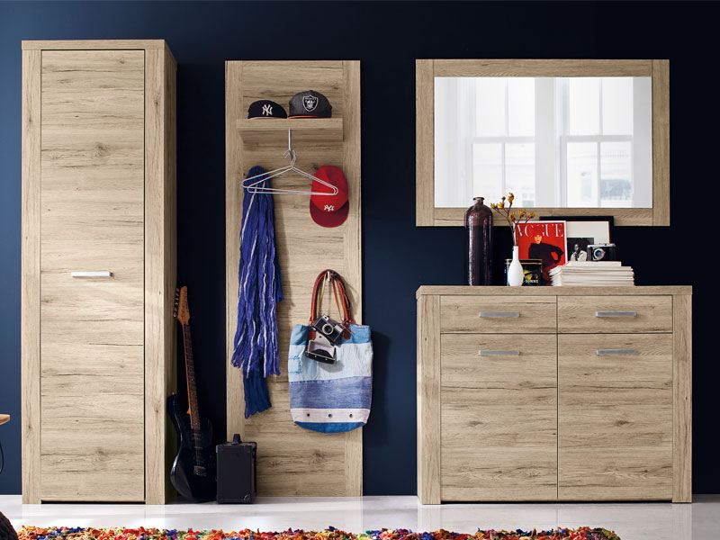 forte moderne garderobe 4 tlg in sandeiche dekor mit viel stauraum. Black Bedroom Furniture Sets. Home Design Ideas